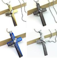 Wholesale Cross Couple Necklaces - Hot Sale Newest Arrival Men Titanium Steel Chain Cross Pendant Statement Necklace Cheap Jewelry Couple Nacklace Free Shipping D0086