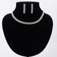 collier pour paires achat en gros de-Ensemble de bijoux de mariage élégant de luxe, y compris 1 paire de boucles d'oreilles fleur 1 Collier de déclaration CZ pierre nuptiale