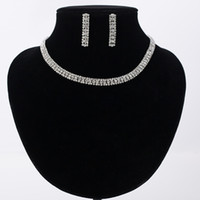 Wholesale Luxury Elegant Wedding Jewelry Set Including Pair Flower Stud Earrings Bridal CZ Stone Statement Necklace
