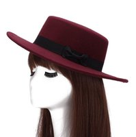 Wholesale ceremony hats for sale - High quality Straight Top Flat Top Hat Men Women Fall Winter Felt Hat Imitation Wool Retro Gentleman Hat ceremony cap M015 with box