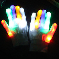 Wholesale led lighted gloves - Rainbow Flash Gloves LED Light Up Stage Performance Colorful Finger Lighting White Magic Glove Glow Party Dance Mittens 13 5yt F