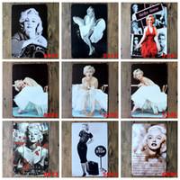 parede de marilyn monroe posteres venda por atacado-Marilyn Monroe Poster Decoração Da Parede Bar Casa Artesanato Presente Do Vintage Art 12x8in Ferro pintura Tin Poster 30X20 cm (projetos mistos)