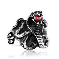 ingrosso animale nero cobra-Cobra Red / Black Stone Snake Ring Prezzo di fabbrica Stainless Steel titanio Punk Heavy Metal Animal Jewelry Anelli classici retrò