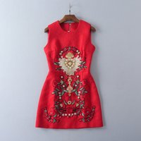 Wholesale Heavy Embroidery Dresses - European and American women's wear 2017 The new summer sleeveless Court heavy nails jacquard Red dress
