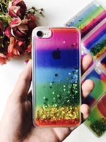 Para Samsung Galaxy Note 7 5 4 3 Clear Colorido barato TPU Óleo híbrido Liquid Glitter Phone Case Moving Star Shining Rainbox Cover