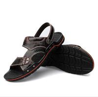 Wholesale Shoe Crocodile Sandals - Leisure Summer Beach Men Shoes Crocodile Pattern Genuine Leather Men Sandals