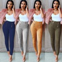 Wholesale yellow jeggings for sale - 2017 new Ladies Suede Fashion Leggings Jeggings Womens Tight Skinny Pencil Long Pants