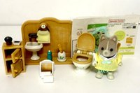 Wholesale Doll Toilet - Wholesale- Sylvanian Family rest room toilet set WC set mini animal rabbit fireplace desk chair figure doll puppet furniture toy gift