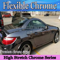 black wrap foil - Best Black Chrome Vinyl Wrap With Air bubble Free flexible stretchable Mirror Chrome For Car COVERING styling Foil x20m Roll x66ft