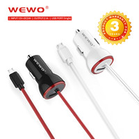 Wholesale eu micro usb charger lg - High Quality WEWO Metal Car Charger With Micro USB Cable 2.1A Quick Charging Universal Car Chargers For iPhone Samsung Android Phone