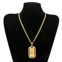 Wholesale Copper Gilding - 5mm Copper Cuban Chain AG Arc-shaped Gilded Masonic Dog Brand Stainless Steel Gold-plated Hip Hop Women Men Pendant Necklace Jewelry