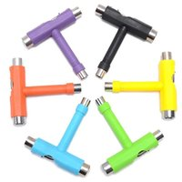 Wholesale Skateboard Tools - 100pcs Skate T TOOL Skateboard Scooter Longboard Tools Kick Scooter Mini T Wrench Spann All-in-one Skate Tools fast shipping