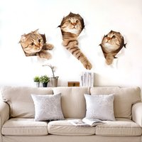 Bande Dessinée De Salon Pour Enfants Pas Cher-Autocollants muraux 3D Vivid Cat Simulation Décoré Cartoon Animal Kitten Lifelike Pattern pour enfant Living Room Sticker Art Decal 2 5gw F R