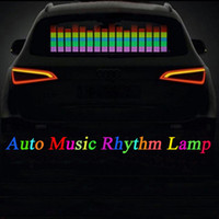 Wholesale car led sound activated equalizer - Car Sticker Music Rhythm LED Flash Light Lamp Sound Activated Equalizer Car Atmosphere Led Light