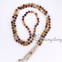 Wholesale Silver Bracelet Long - 108 tibetan prayer beads mala bead necklace buddhist prayer beads bracelet long tassel necklace healing beads wholesale