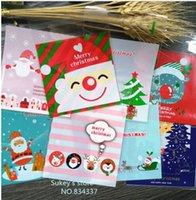 Wholesale Self Adhesive Bread Bags - ON SALE 100pcs lot Mixed style Merry Christmas plastic bags cookie packaging bag 10x10cm self adhesive bags free shipping