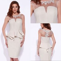 Wholesale Cheap Neckline Designs - Sexy Design Sheath Jewel Knee Length White Ivory Short Party Dresses with Appliques Sheer Neckline Cheap Cocktail Prom Dresses