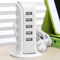Wholesale Usb Powered Devices - Wholesale- Travel Portable 5 Port 40W 5V 8A USB Wall Power Charger Adapter Intelligent Distribution IC Multiple Devices For ipad Tablets PC