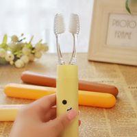 Wholesale Sanitary Toothbrush Holder - Free shipping 1pcs cute Easily bear cartoon toothbrush box  easy carry travel toothbrush holder antibacterial Sanitary ware suit