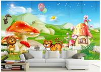 Wholesale animal house wallpaper - 3D photo wallpaper custom size mural non-woven wall Animals mobilize beautiful cartoon children backdrop 3D Mural wallpaper Free shipping