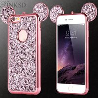 Orelhas para mouse 3D Caso de capa macia para iPhone da Apple 6 6s Plus Luxo Glitter Estojos de telefone celular Bling i6s plus cases
