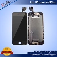 Wholesale Iphone Display Home Button - For iPhone 6 iPhone 6 Plus Grade A +++ Black LCD Display With Touch Screen Digitizer Complete With Home Button +Front Camera & Free Shipping