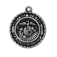 """Wholesale Marine Corps Antiques - Hot Sell Jewelry Fashion Zinc Alloy Antique Silver Plated """"Marine Corps """" Disc Shoulder Strap Jewelry Pendant"""