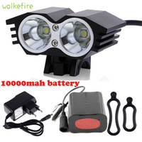 Wholesale Bikes Accesories - Wholesale- Walkfire Bicycle Accesories Cycling Front Light Bike Light 5000 Lumen XML T6 LED Bicicleta Lamp+10000mah Battery Pack + Charger