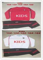 Wholesale Sets Kids Sweatshirts - Top quality kids 2017 2018 AC Milan Soccer training suit sweatshirt kit survetement 17 18 AC Milan Sweater Tracksuit Set Soccer Training Su