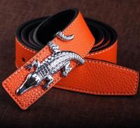 ceinture de crocodile de marque pour hommes achat en gros de-2017 Mode crocodile boucle de ceinture slivery marque designer hommes ceinture luxe haute qualité ceintures pour hommes Jeans pantalons en cuir véritable ceintures
