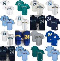 Wholesale Navy Children Shorts - 2017 Men's Women's Children Seattle Mariners Stars player 24 ken Griffey jr Blank coolbase Jerseys T-shirt White Blue Navy L-Blue Green Grey