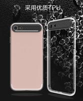Wholesale Carbon Fiber Camera Bag - High quality TPU Cell Phone Case For iPhone 7 PC carbon fiber Camera hole 6s Case Soft Transparent gel Back Case Opp Bag