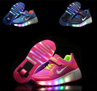 Wholesale Retractable Rollers - Kids LED Unisex Light Wheels Retractable Roller Skate Shoes Girls Boys Youth Sneakers PZ20