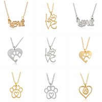 Wholesale Bear Paw Dog - Gold Silver 2 Color Love&Paw Heart Pendant Necklace Animal Pet Puppy Cat Dog Bear Footpoint Friendship Memorial Lover Christmas Gift