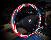 Wholesale 38cm Steering Wheel Covers - Diameter 38cm Car Styling Fashion steering wheel cover Decoration Young Pepole England Stylling Leather 3 colors Universal use