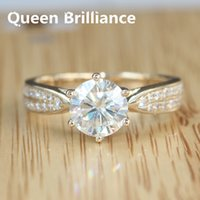 Queen Brilliance Genuino 14K 585 Oro 1.2 Ct EngagementWedding Moissanite Anillo De Diamantes Con Acentos De Diamantes Real Para Las Mujeres 17903