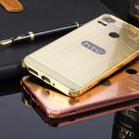 Wholesale desire gold - Case For HTC Desire 10 Pro 5.5inch Brush Acrylic Back Cover& Aluminum Metal Frame Set Phone Bag Fundas+TPU Anti-Knock