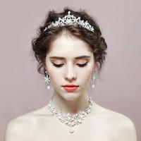 Wholesale Three Crowns Earrings - New korean style rhinestone crystal bride jewelry sets crown earrings necklace three sets wedding jewelry accessories