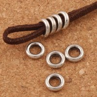 Wholesale Bracelets Spacer - Smooth Circles Spacer Metal Alloy Beads 500pcs lot Antique Silver Dangle Fit Bracelets Jewelry DIY L1484 7.9x7.9x1.9 mm