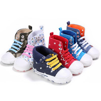 Wholesale Cotton Tops For Girls - Infants Cotton high-top Sneakers Baby Moccasins Soft sole lace up prewalkers anti-skip first walking shoes for toddlers boys girls 1-3T