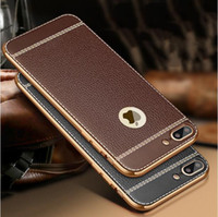 Wholesale Iphone Leather Luxury - Litchi grain luxury Plating Soft Leather TPU silicone phone case For iphone 5SE 6s plus Frame clear cover For iphone 7 Samsung S6 S7 Edge