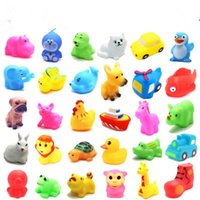 Wholesale Cute Soft Rubber many animals Duck Float Squeeze Sound Baby Wash Bath Toys Play Animals Toys Kids Bath Toys