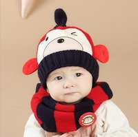 Wholesale Crochet Hats Monkey Style - 2016 Winter Season New Styles Colorful Monkey Mouse Baby Crochet Boys and Girls Hat and Scarf Set Infant Cap bonnets hats free shipping
