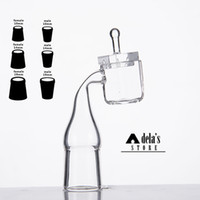 Wholesale cube cap - Sugar Cube Quartz Banger Nail + Square Carb Cap 100% Quartz Bowl 10mm 14mm 18mm Female Male Domeless Nails Dab Rig 389