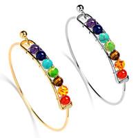 Wholesale 18k Gold Jewelry India Wholesale - Gold Silver India Yoga Energy Natural Stone Agate Beads Bangle Men 7 Chakra Healing Balance Bracelet Charm Bangle for Women Jewelry
