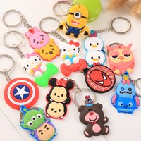 Wholesale Wholesale Copper Metal Keychain - Mixed lot diy Hot beautiful soft PVC silicone charms Keychain cute cartoon anime gift key pendant rubber Key chain Ring jewelry
