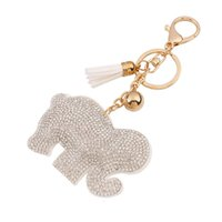 Wholesale Elephant Ring Gold White - hot sale bag accessories charms key rings Fashion Candy color cute Elephant cartoon metal leather tassels diamond crystal pendant keychain