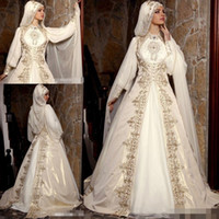 Wholesale arab embroidery - 2017 Muslim Arab Dubai Wedding Dresses High Neck Long Sleeve Gold Embroidery Bridal Gown With Hijab