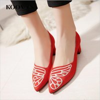 Wholesale Korean Summer W - Koovan Fashion Women Shoes 2017 New Summer 5 Cm Heel Ladies Pumps Embroidery Pointed Toe Korean Shoes Six Color W 099