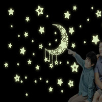 Barato Quarto Parede Colorida-Colourful Glow Wall Stickers Luminous Star Sticker Fluorescente Glow No escuro Baby Kids Decal Stars Decorações Home